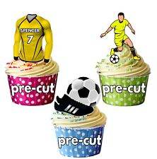 PRECUT Personalised Football Party Pack Cake Toppers Decorations Yellow & Black