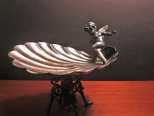 Antique Rogers & Bros Scalloped Pedestal  Candy Dish with Cherub 1890-1910