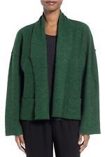 $278 NWT Eileen Fisher Boiled Wool Kimono Jacket Evergreen Green Size Medium M