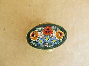 vintage micro mosaic flowers metal pill box colorful