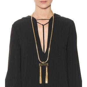 SAINT LAURENT YSL Gold Deco Statement Tassel Brass Necklace Pendant Authentic