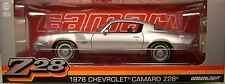 GREENLIGHT DIECAST METAL 1:18 SCALE SILVER 1978 CHEVROLET Z/28 CAMARO