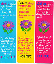 3 BOOKMARKS FOR THAT SPECIAL SISTER,CAN BE PERSONALISED.18cmx 5cm.LAMINATED