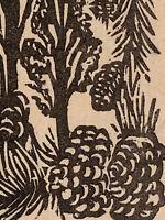 Pinyon Pine Nut Tree Small Original Woodcut from Alpine Mountain Trees Landscape