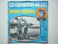 Johnny Hallyday 45Tours SP vinyle Les Chevaliers Du Ciel Bleu label vert papier