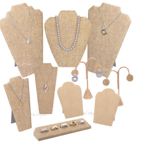 10pc Jewelry Display Stand Burlap Display Set Ring Earring Necklace Displays