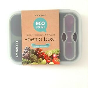 ECO One Collapsible Silicon 3 Section Bento Box Lunch Storage Purple W/Utensils