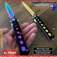 Large RAINBOW Titanium Knife Pocket Folding Rainbow Knife Hunting Camping Knife