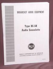 RCA BC-5B tube mixing console operation and service manual reprint