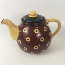 """Lang Redware Dan DiPaolo Whats For Dinner Red Yellow Tea Pot Lid 6.5�T X 9.5""""W"""