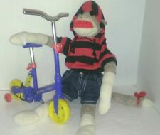 Handmade Sock monkey AND Build a Bear Bicycle genuine Rockford Red Heeled