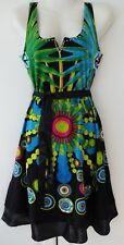 New Desigual Ladies Dress, SANZIBAR Negro,Green& Multi, Size S, Scoop Neck