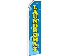 Laundromat Bubbles Blue / Yellow Swooper Super Feather Advertising Flag 100D