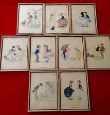 RARE Antique Lithograph Gladys T Gibbs Set Of 9 Matched Extraordinary!!!