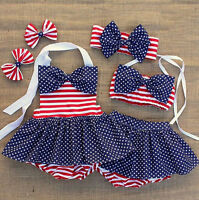 Toddler Baby Kid Girl Striped Bow Bikini Set Swimsuit Swimwear Bathing Beachwear