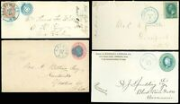 LOT/14 Late 1800s Covers, ALL BLUE-GREEN Cancels Some FANCY CANCELS, Misc Cities