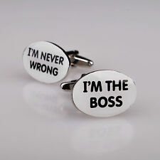 Boss Never Wrong Silver Mens Cufflinks Free Jewelry Box Alpha Male Cuff Links