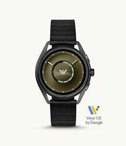 Emporio Armani Men's Gunmetal Black Leather HR Touchscreen Smartwatch ART5009