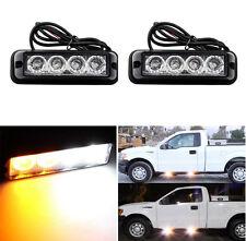 2PCS 4 LED White / Amber Car Truck Warning Emergency Beacon Strobe Flash Light