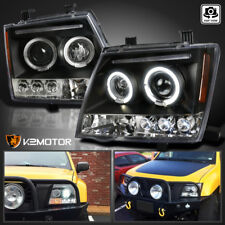Black LED Halo Projector Headlights Set For 2005-2012 Nissan Xterra