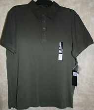 NEW Marc Anthony Short Sleeve 4 Button Polo shirt Green Very Soft L Knit