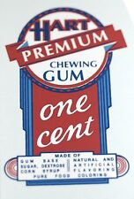 HART PREMIUM CHEWING GUM, ONE CENT  WATER SLIDE DECAL # DH 1068