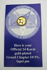 EASTERN STAR LAPEL PIN 24K Gold Plated GRAND CHAPTER OF PA on CARD, NEW Mason