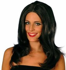 Long Dark Brown Wig 1980s 80s Pop TV Film Star Fancy Dress Womens P1228