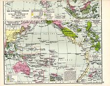 MAP ~ EUROPEAN & AMERICAN PARTITION OF THE PACIFIC ~ SANDHURST ATLAS