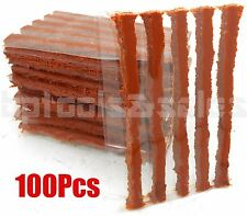 "100Pcs Tubeless Car Flat Tire Repair Plugs Strips Refill 4"" x 1/4"" Plug Patches"