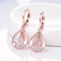 Womens Stunning 18K Rose Gold Filled White Topaz Dangle Drop Leverback Earrings