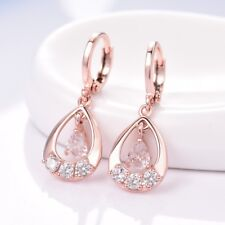 Womens Stunning 18K Rose Gold Filled White Topaz Dangle Drop Leverback Earrings