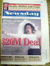 1994 newspaper MICHAEL JACKSON pays $20 million in CHILD SEXUAL ABUSE SCANDAL