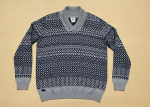 Lacoste Jumper Men ~ Sz 5 / Large ~ New w/o Tags Pullover Knit Sweater Geometric
