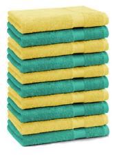 Lot de 10 serviettes débarbouillettes Premium couleur: vert émeraude & jaune