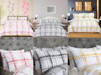 Sleepdown Seersucker Check Polycotton Reversible Duvet Cover Set with Pillowcase