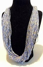 Silver Bead Multi-Strand Necklace Egyptian Revival Checz Blue &