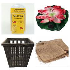 Gift Pack for the Pond Owner, Plastic Pond Basket, Full Arm Gloves, Solar Flower