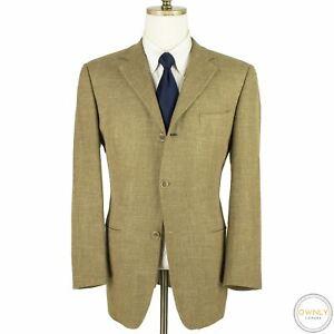 Zegna Yellow Grey Green Wool Silk Cotton Linen Woven Lined Jacket 42R