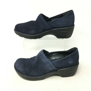 Born Toby Corduroy Slip On Clogs Wedge Nursing Shoes Suede Blue Womens 8M