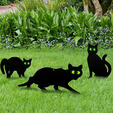 3Pcs Halloween Black Cat Yard Signs Stakes Outdoor Lawn Garden Decorations Us