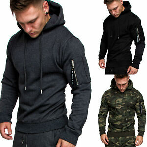 Herren Cargo-Style Kapuzen-Pullover Sweatshirt Hoodie Sweater Camouflage 4003