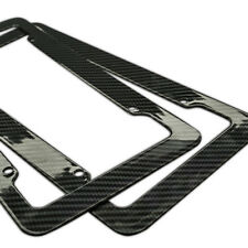 Plastic Carbon Fiber Style License Plate Frames Front & Rear Bracket 2pc Set