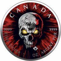 "$5 Canada 1 Oz Silver Maple Leaf ""Maple Skull"" .9999 Fine One of 50 Pcs Pre-Sale"