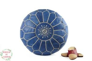Moroccan Blue Denim pouf ottoman Round embroidery with White Stitching Blue jean