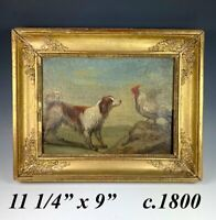 Antique French Empire Oil Painting of a Dog and Rooster, Applique Frame c.1820