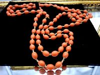 Art Deco Galalith Coral ( faux coral ) beads long necklace