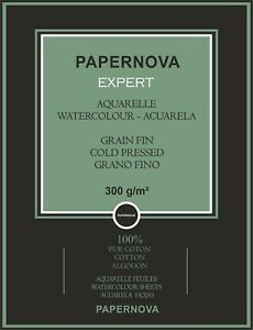 PAPERNOVA EXPERT A4 NAT WHITE WATERCOLOR 100% COTTON PAPER, 300GSM, 12 SHEETS
