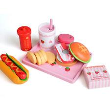 Children Kitchen Wooden Hamburger Hot Dog Food Toys Set for Kid Pretend Play