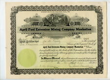 1907 Stock Certificate, April Fool Extension Mining Company Manhattan